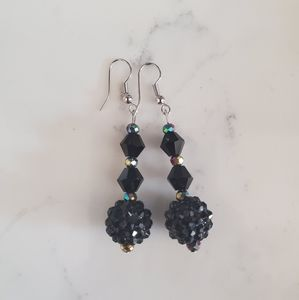 Back to basics black disco handmade earrings